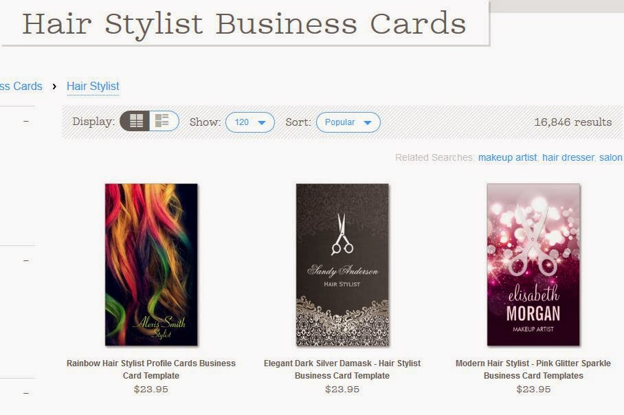 Zazzle tutorial how to narrow your search results using the search for example lets do a search for hair stylist business cards here are the results reheart Choice Image