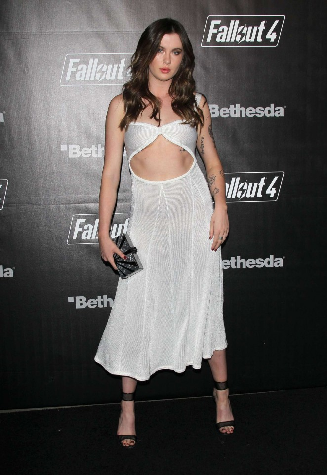 Ireland Baldwin flashes underboob at the Fallout 4 Launch in LA