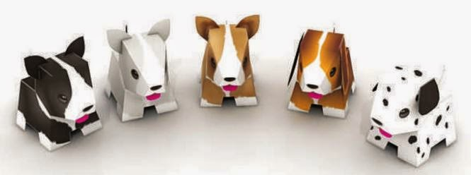 Nice 3D Free Printable Puppies. Paper Toys.