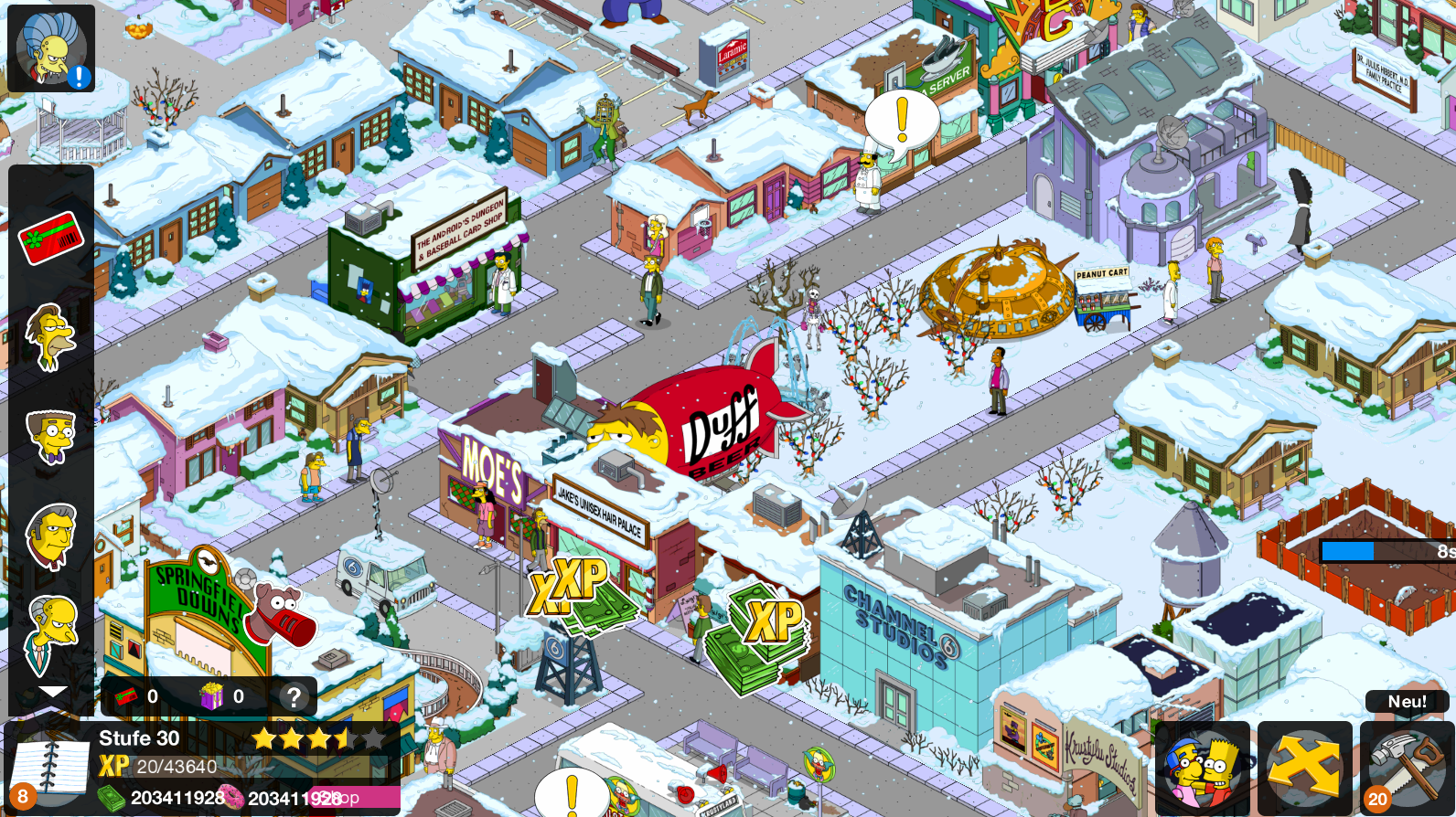 Krustyland should be 100% working now. Remember to build something