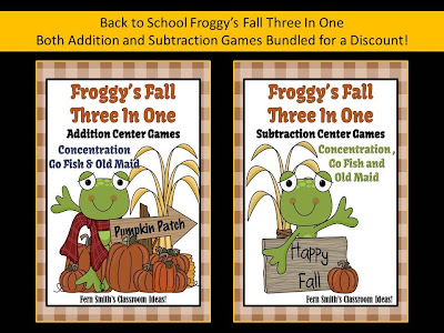 Fern Smith's New Fall Froggy Addition and Subtraction Center Games for Back to School!