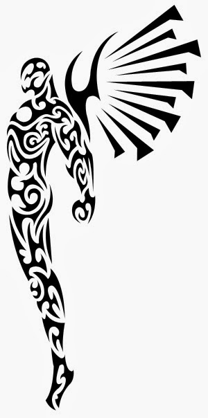 Male angel tribal tattoo stencil