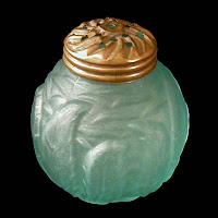 EAPG Blue Satin Leaf Mold Salt Shaker