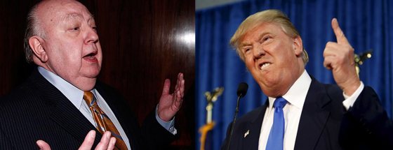 Roger Ailes (left) Chairman and CEO of the Fox News' propaganda operation, is feuding with the narcissist Donald Trump.
