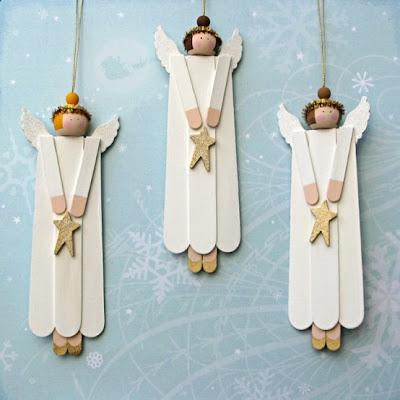 Anjos de Natal feitos com palito de picolé!