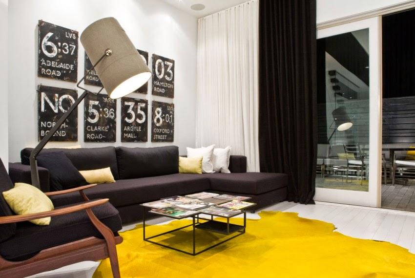 la planta baja y el tercer piso de la unidad de metros se representan en el modelo en una paleta limpia de color blanco negro nogal y amarillo