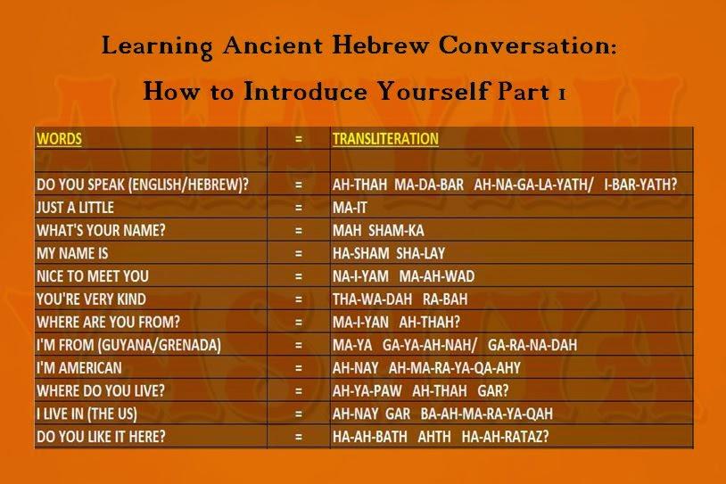 Ahayah yashiya learn ancient phoenician paleo hebrew hebrew conversational hebrew dabar ibaryath greetings how to introduce yourself m4hsunfo
