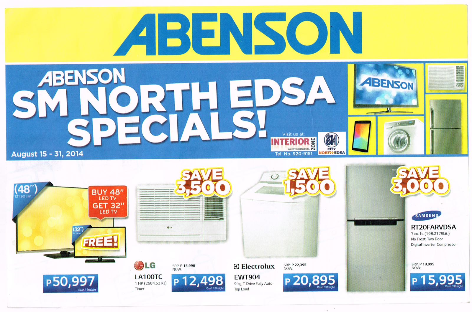 ABENSON: SM NORTH EDSA SPECIALS PROMO AUGUST 15-31,2014