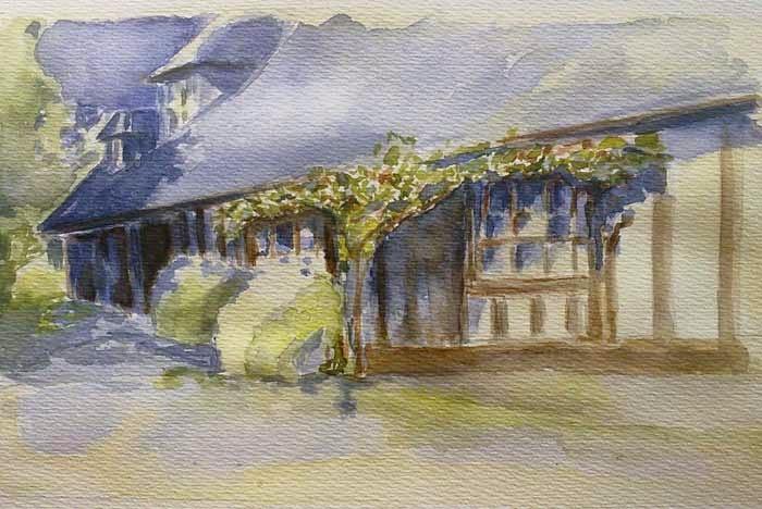 casa de campo pintada en acuarela