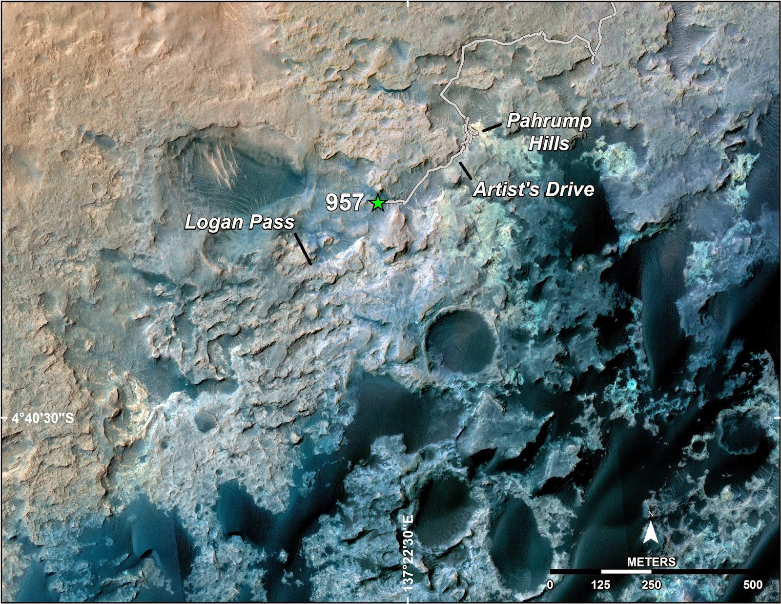 A green star marks the location of NASA's Curiosity Mars rover after a drive on the mission's 957th Martian day, or sol, (April 16, 2015). The map covers an area about 1.25 miles (2 kilometers) wide. Credits: NASA/JPL-Caltech/Univ. of Arizona