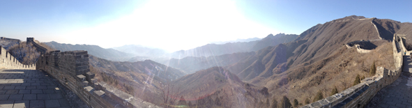 panoramic view of great wall of china mutianyu