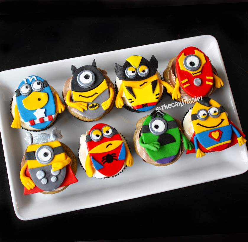 TheCakingGirl: Superhero Minion Cupcakes + Superhero Hello Kitty