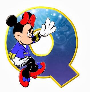 Alfabeto de personajes Disney con letras grandes Q Minnie.