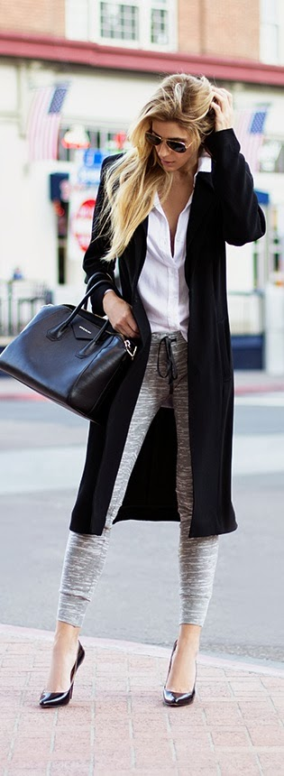 White Shirt With Black Long Coat And Grey Leging