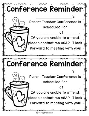 Parent Teacher Conference forms and reminders