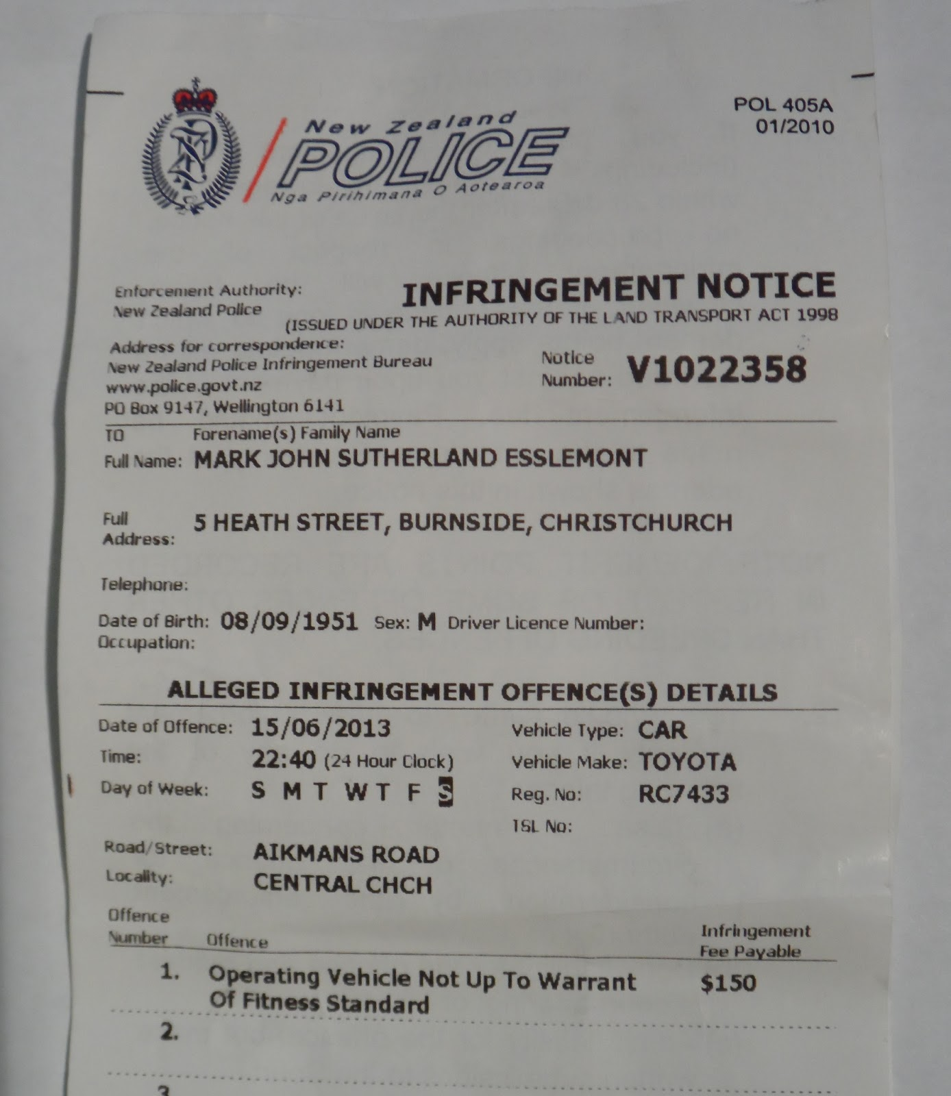 Woza wanderer christchurch police state post quake bleus 150613 nz police infringement notice toyota corolla malvernweather Image collections