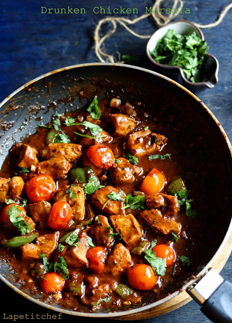 A delicious dish with cubed chicken cooked in Marsala wine and cherry tomatoes..Fun, Fast & fabulous midweek dinner option.