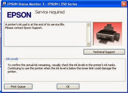 """A printer's ink pad is at the end of its service life. Please contact Epson Support"""