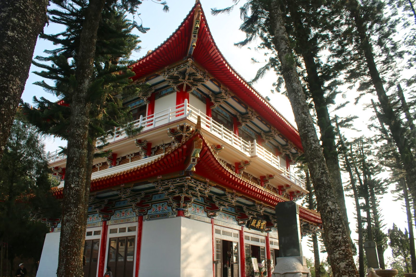 Beautiful Chinese architecture design from the side view of Xuanzang Temple nearby Sun Moon Lake in Nantou County of Taiwan