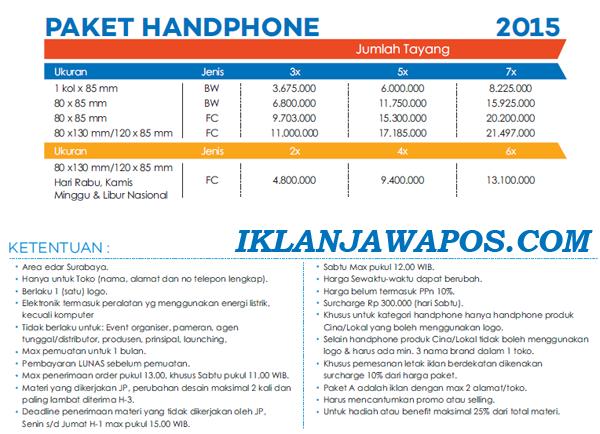 Pasang Iklan Jawa Pos Display Paket Handphone 2015