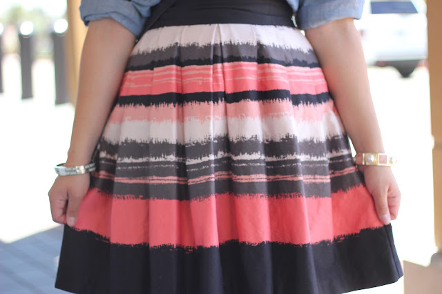 Pink, Black and Cream Summer Skirt