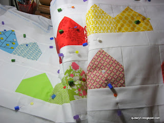 Charm houses - ready to be quilted