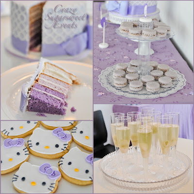 events white purple hello kitty baby shower dessert table