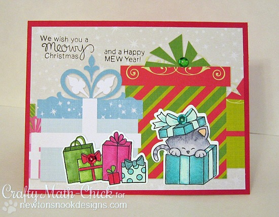 Christmas Cat Card by Crafty Math-Chick | Newton's Christmas Cuddles Stamp & Die set by Newton's Nook Designs #newtonsnook