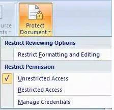 proteksi dokumen di word 2007