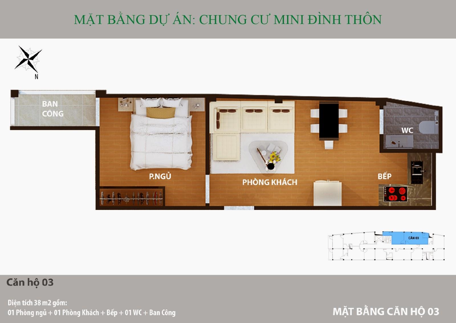 Căn hộ 1 phòng ngủ điển hình chung cư mini Mỹ Đình