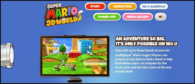 Screenshot of official website for Super Mario 3D World