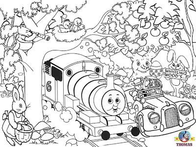 Kids Happy Easter coloring pictures of Thomas the tank engine and Percy the train bunnies in woods