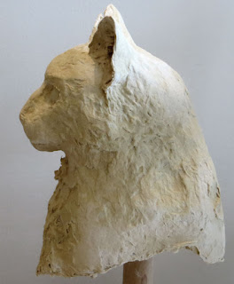 paper mache cat sculpture by artist Shannon Reynolds