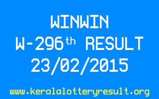 WINWIN W 296 Lottery Result 23-2-2015