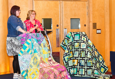 Tula Pink at the Festival of Quilts 2013, talking about the Acacia fabrics.