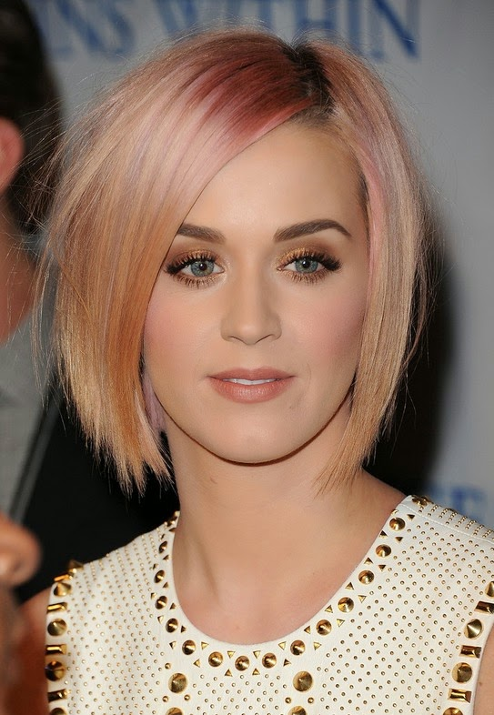 Katy Perry's Pink Short Haircut 2014