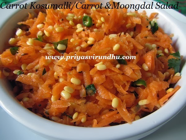 carrot kosumalli/carrot & moong dal salad