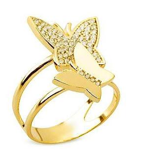 anel borboleta folheado