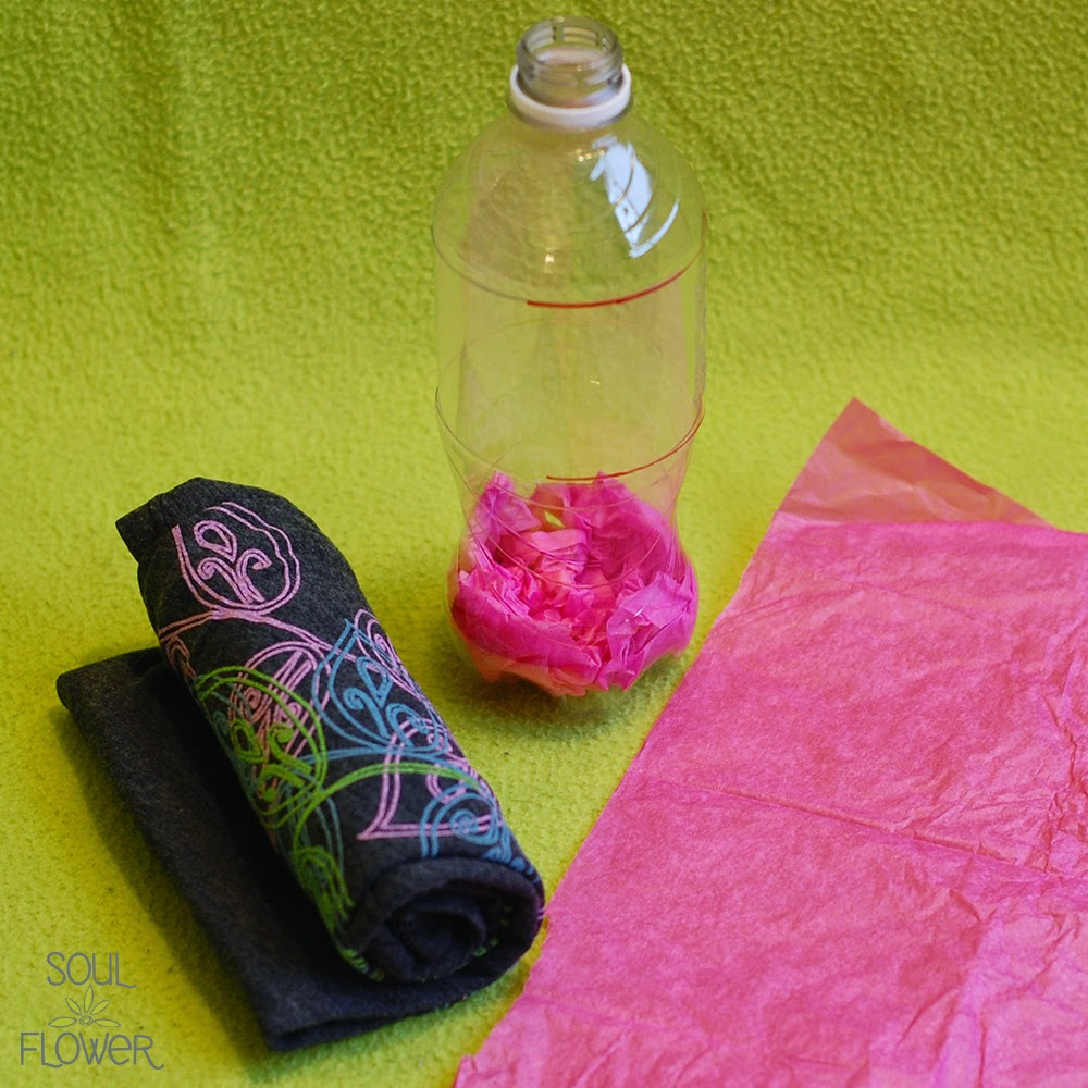 12 tissue paper in bottle - 13 Oz or Less - A Recycled Bottle Mailer DIY