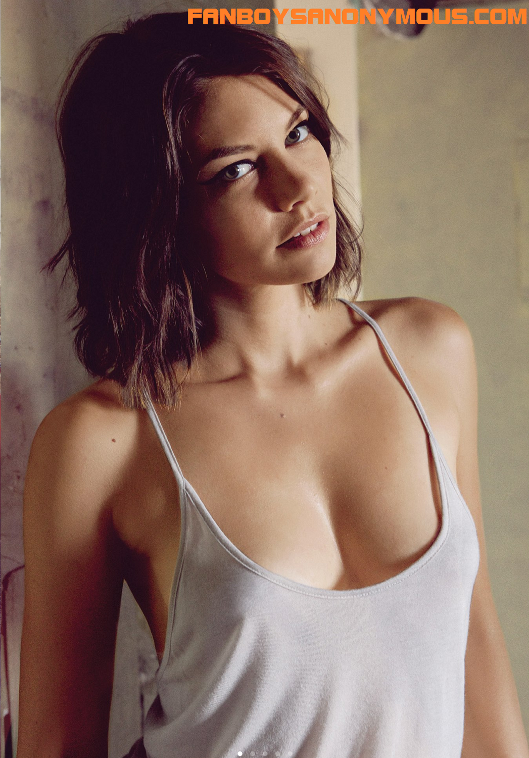 topless Lauren Cohan no bra see-through