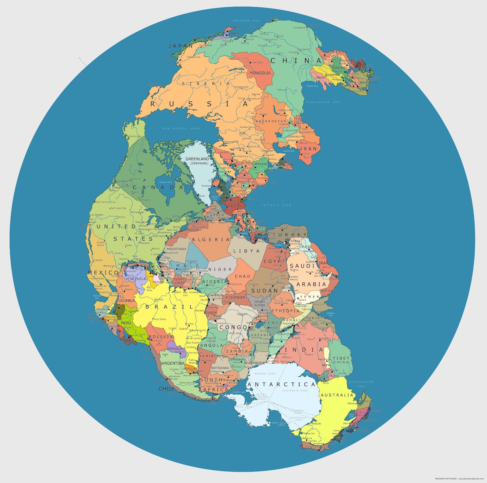 Пангея со странами мира