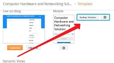klik tombol backup restore untuk memulai pemulihan template