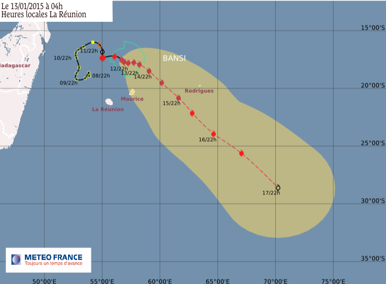Cyclone tropical très intense Bansi: le point à 7h00