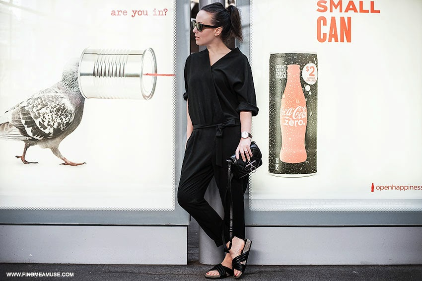 Mandi from Find Me A Muse blog at Southern Cross Station, Melbourne wearing ASOS jumpsuit Givenchy Obsedia black quilted bag Celine catseye sunglasses Tony Bianco Indiana slides Daniel Wellington Classic Sheffield mens watch
