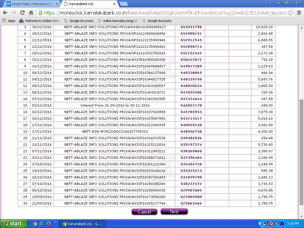 Payment directly credited in Bank Proof 2