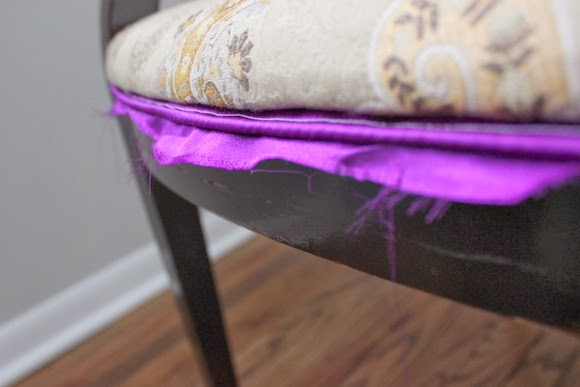 Needs a new cushion too: Reupholstered Chair DIY using Milk Paint | DIY Playbook