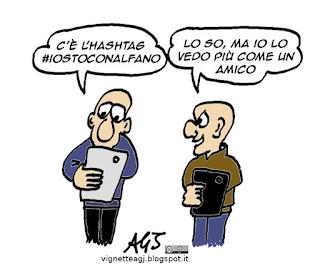 Alfano, Salvini, hashtag, vignetta satira