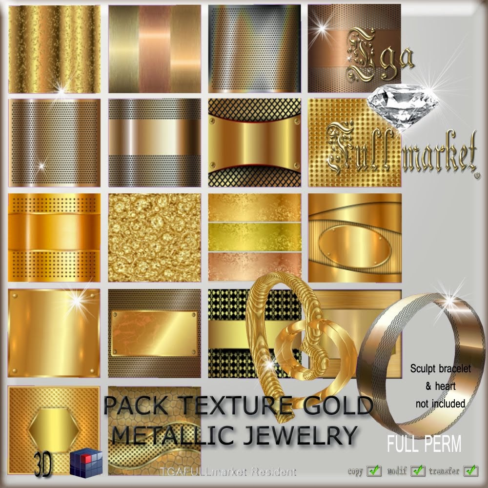 PACK TEXTURE GOLD METALLIC JEWELRY