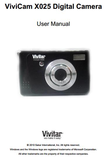 Vivitar ViviCam X025 Manual