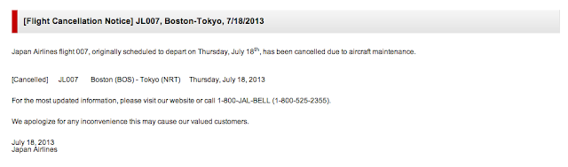 JAL posted a flight cancelation notice for JL007 on its website